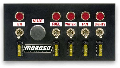 Moroso 74131 Drag Race Fused Switch Panel - Starter Switch w/ 5 Toggle Switches