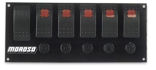 Moroso 74180 Flat Mount Fused Rocker Switch Panel Start Button w/ 5 Acc Switches