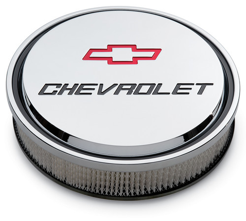 "Proform 141-835 14"" Chevrolet Slant Edge Aluminum Air Cleaner Chrome w/ Bowtie"