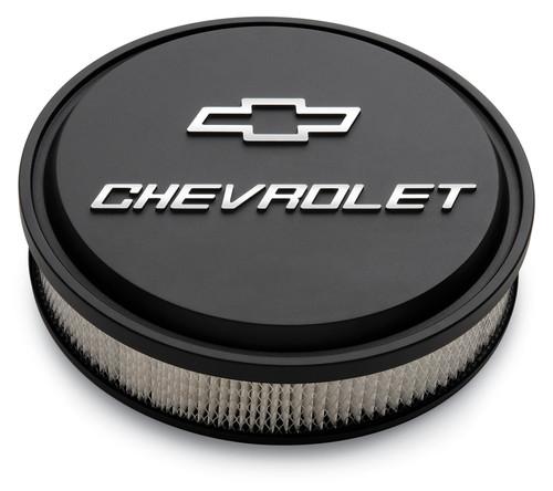 "Proform 141-830 14"" Chevrolet Slant Edge Aluminum Air Cleaner Black w/ Bowtie"