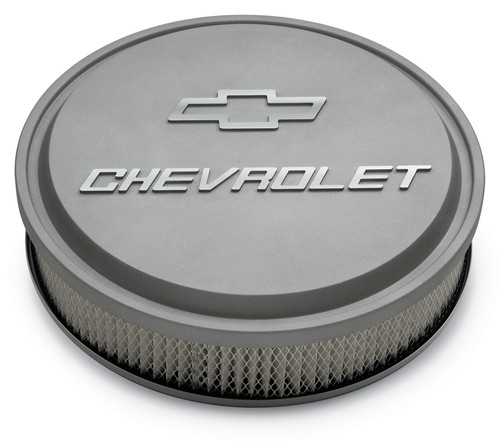"Proform 141-832 14"" Chevrolet Slant Edge Aluminum Air Cleaner Gray w/ Bowtie"