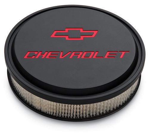 "Proform 141-834 14"" Chevrolet Slant Edge Aluminum Air Cleaner Black/Red w/Bowtie"