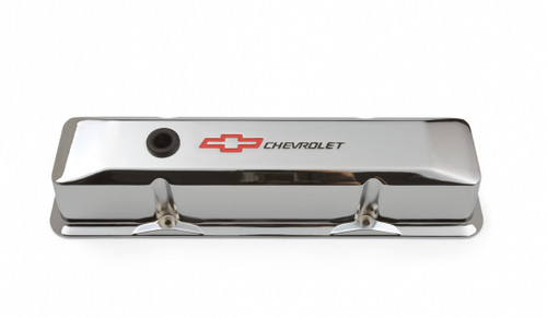 Proform 141-117 Small Block Chevy Tall Chrome Aluminum Valve Covers Chevy Logo