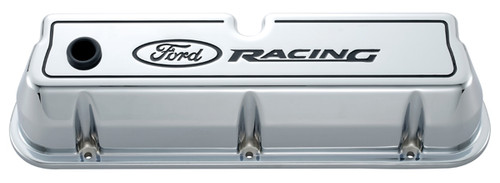 Proform 302-002 Aluminum Valve Covers - SBF - Tall - Chrome - Ford Racing Logo