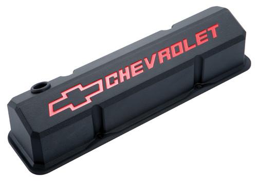 Proform 141-928 Slant Edge Valve Covers - Small Block Chevy Black Cast Aluminum