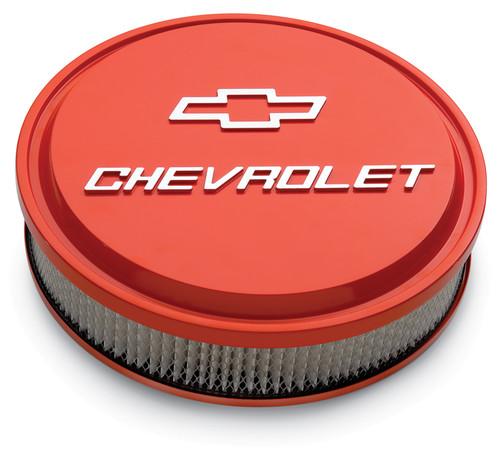"""Proform 141-831 14"""" Chevrolet Slant Edge Aluminum Air Cleaner Orange w/ Bowtie"""