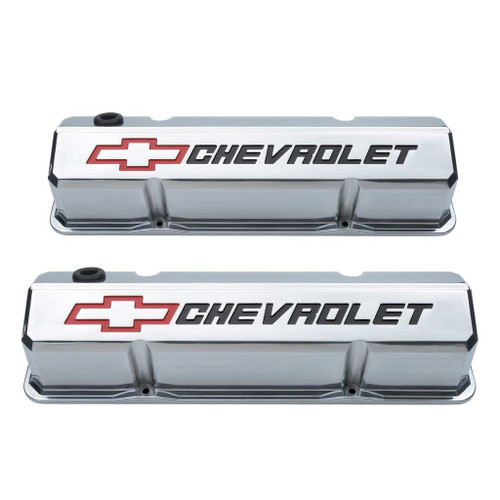 Proform 141-927 Slant Edge Valve Covers Small Block Chevy Polished Cast Aluminum