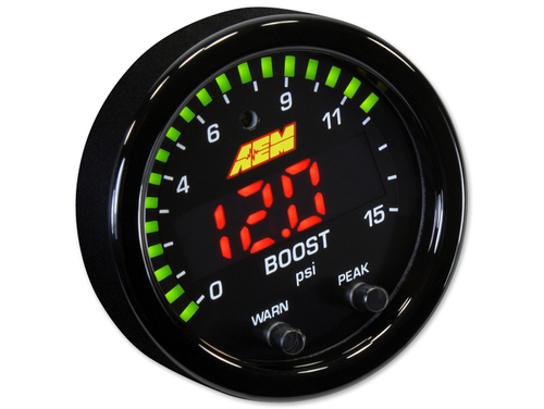 "AEM 30-0309 X-Series 15PSI Boost/Fuel Pressure Gauge 2-1/16"" 52mm"