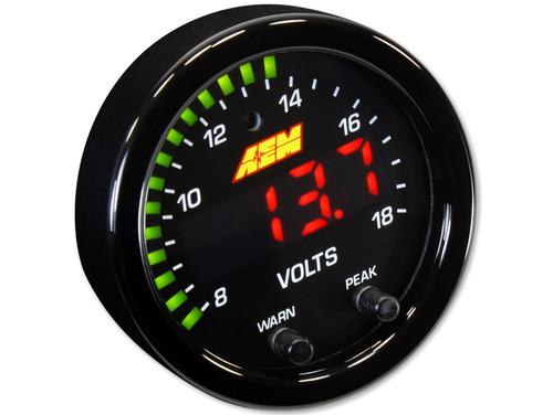 "AEM 30-0303 X-Series 8-18v Volts Gauge  2-1/16"" 52mm"