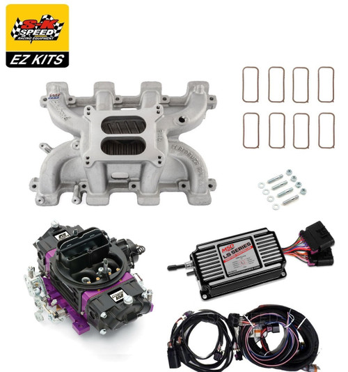 LS1 Carb Intake Kit - Edelbrock RPM Intake/MSD 60143 Ignition/Proform 650 Black Carb