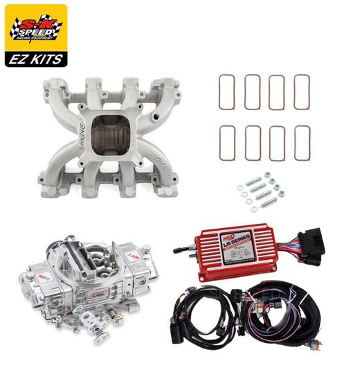 LS1 Carb Intake Kit - Edelbrock Victor Jr Intake/MSD 6014 Ignition/QFT Hot Rod 750