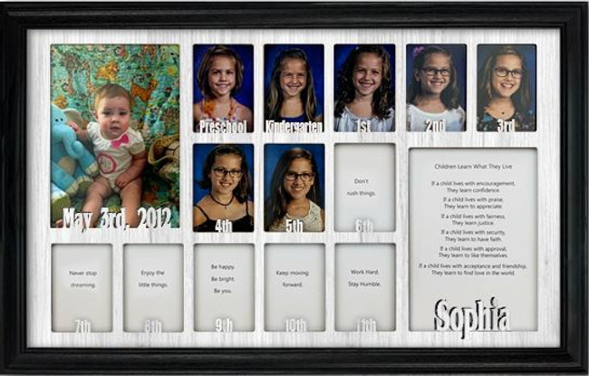 School Years Picture Frame Collage - Personalized - 12x20