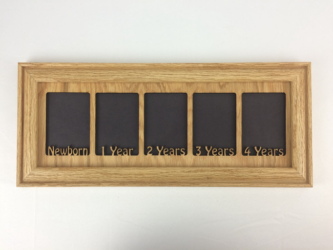 First Years Kids Picture Frame - Newborn to 4 Years - 10 Color Options (Oak) - 5x14 Frame