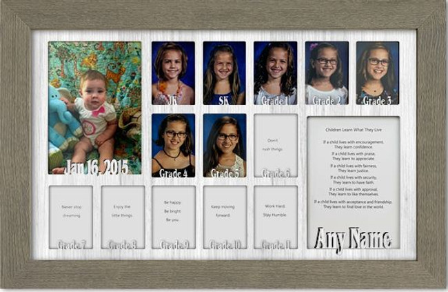 School Years Picture Frame Collage - Canada Grades JK SK - Personalized Name and Date - 12x20