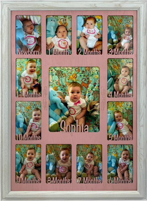 Baby First Year Picture Frame Collage - Personalized - 19x27