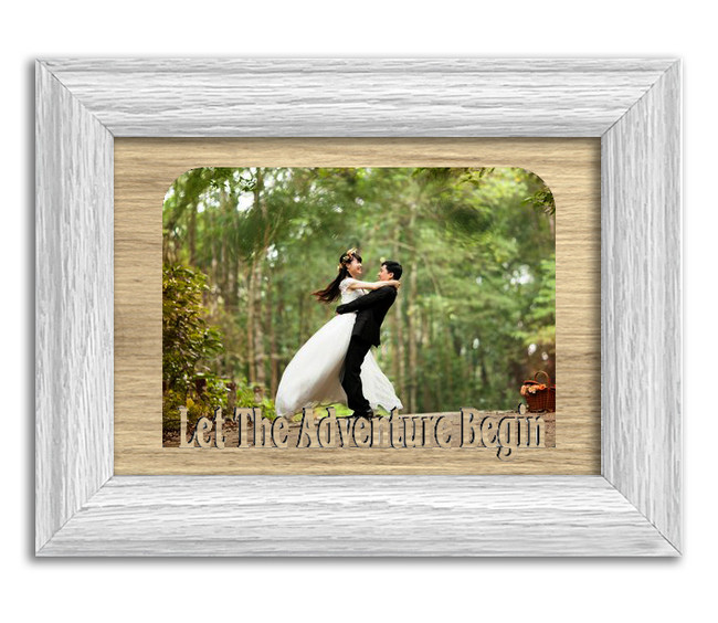 Let The Adventure Begin Tabletop Picture Frame - Holds 4x6 Photo - Multiple Color Options