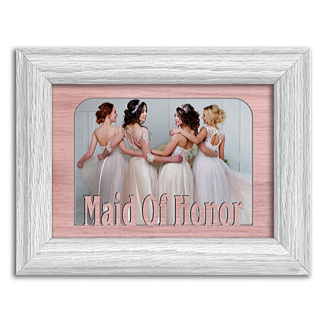 Maid of Honor Tabletop Picture Frame - Holds 4x6 Photo - Multiple Color Options