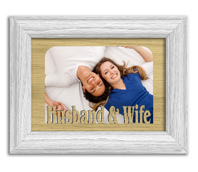 Husband & Wife Tabletop Picture Frame - Holds 4x6 Photo - Multiple Color Options