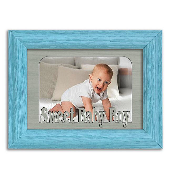 Sweet Baby Boy Tabletop Picture Frame - Holds 4x6 Photo - Multiple Color Options