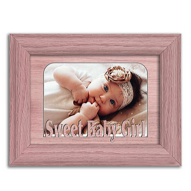 Sweet Baby Girl Tabletop Picture Frame - Holds 4x6 Photo - Multiple Color Options