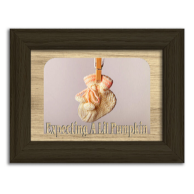 Expecting A Lil Pumpkin Tabletop Picture Frame - Holds 4x6 Photo - Multiple Color Options