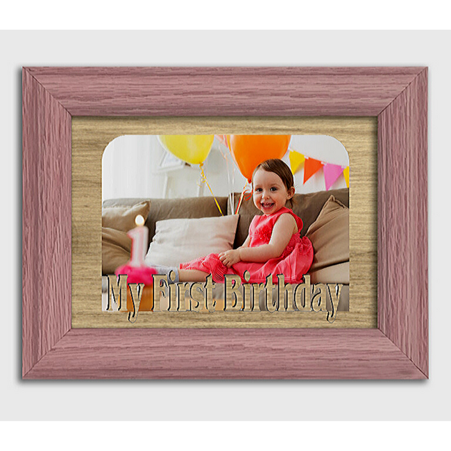 My First Birthday Tabletop Picture Frame - Holds 4x6 Photo - Multiple Color Options