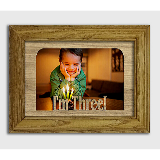 I'm Three! Tabletop Picture Frame - Holds 4x6 Photo - Multiple Color Options