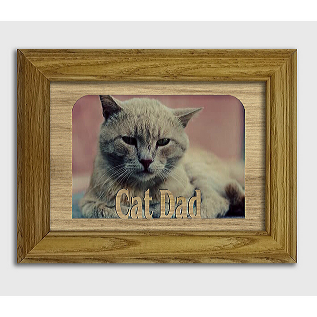Cat Dad Tabletop Picture Frame - Holds 4x6 Photo - Multiple Color Options
