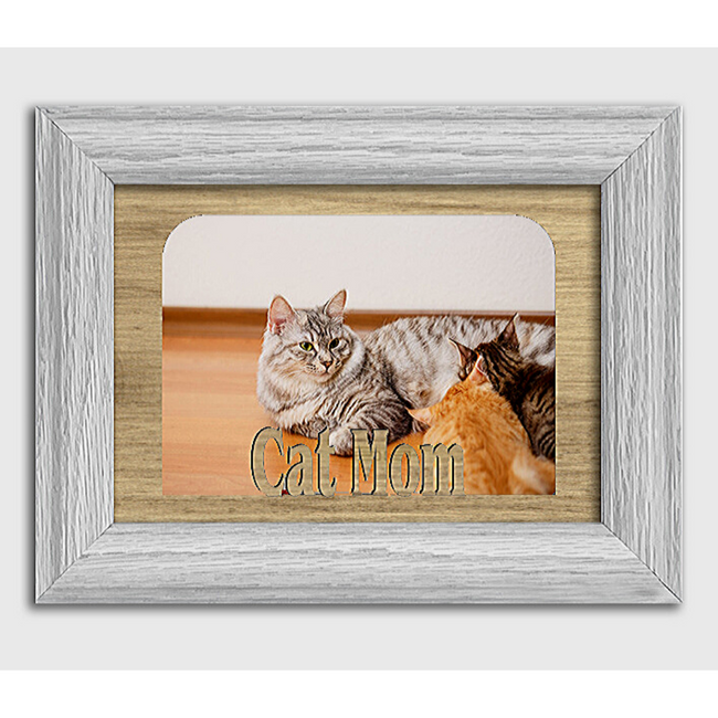 Cat Mom Tabletop Picture Frame - Holds 4x6 Photo - Multiple Color Options