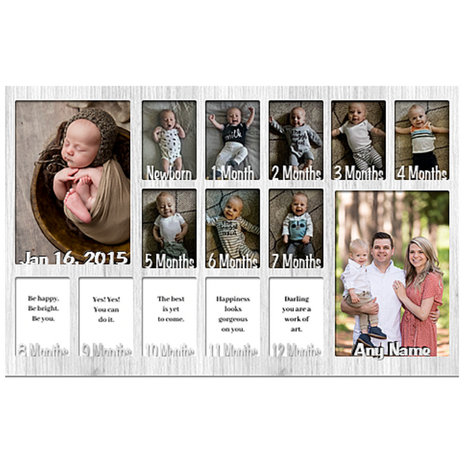 Baby First Year Picture Mat (NO FRAME) Collage - Personalized - 12x20