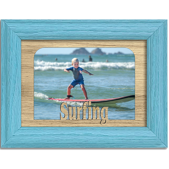 Surfing Tabletop Picture Frame - Holds 4x6 Photo - Multiple Color Options