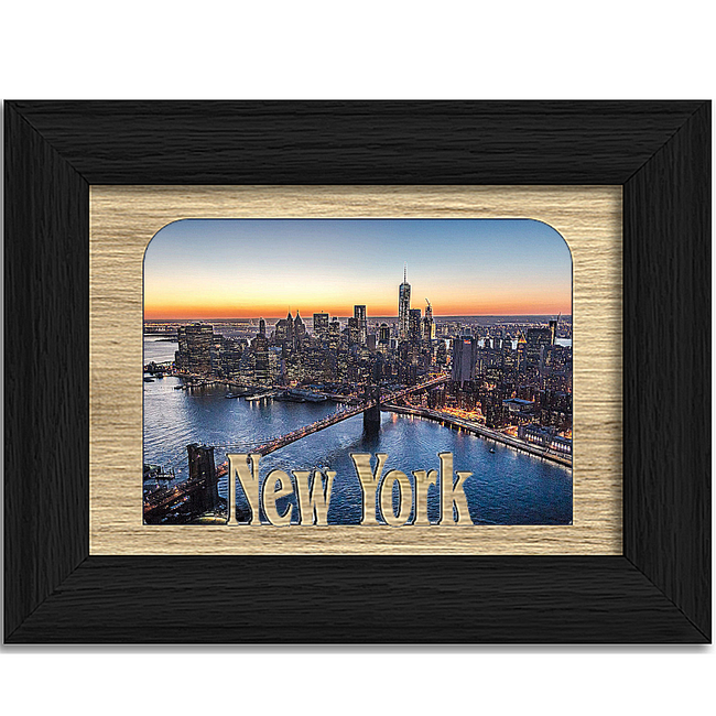 New York Tabletop Picture Frame - Holds 4x6 Photo - Multiple Color Options