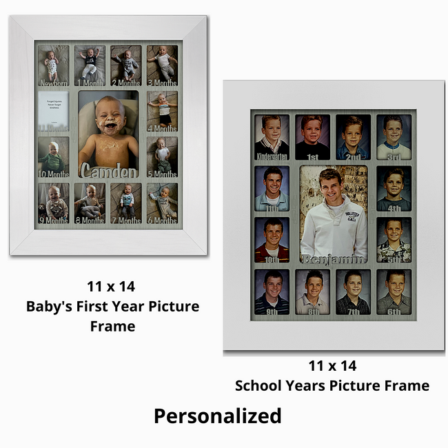 Baby First Year and School Years Bundle Pack - (1) 11x14 Personalized Baby 1st Year Frame (1) Personalized School Years Frame