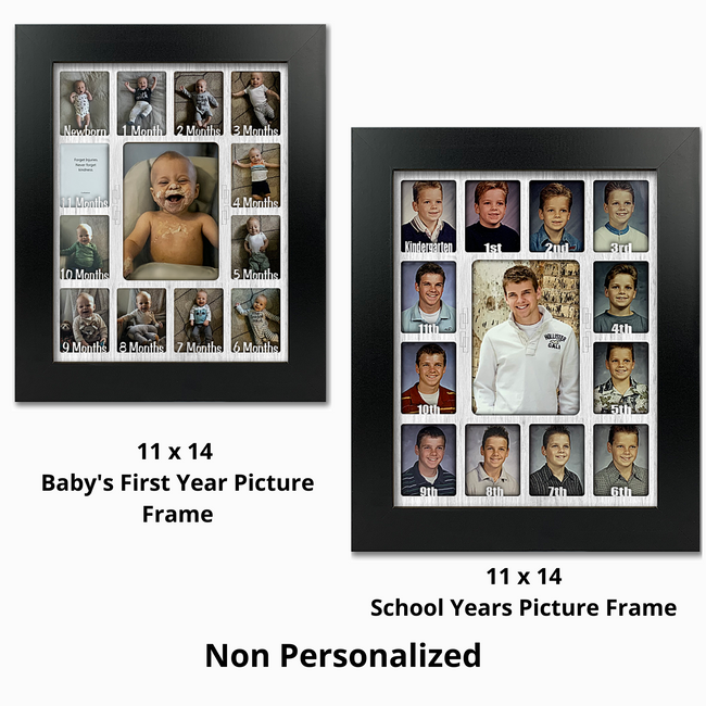 Baby First Year and School Years Bundle Pack - (1) 11x14 Babys First Years Frame (1)  School Years Frame - Non Personalized