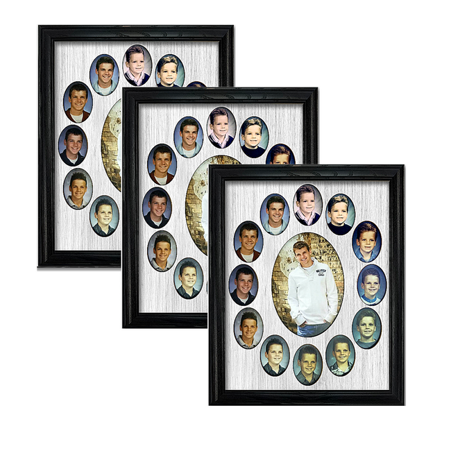 School Years Oval Picture Frame Collage Bundle (3) Pack - Holds Wallet Size School Photos - Customize To Match Your Decor