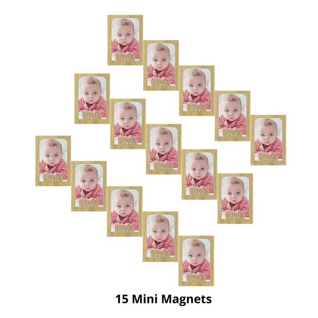 Mini - Personalized Magnetic Refrigerator Picture Frames with Names Bundle - 15 Pack (Holds Mini School Wallet Photos) Name Magnet