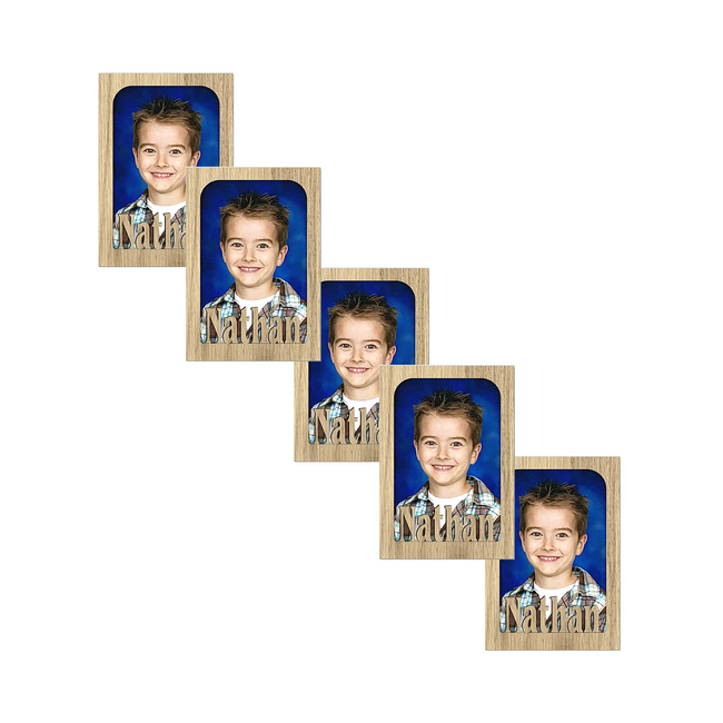 Biggie - Personalized Magnetic Refrigerator Picture Frame with Names Bundle - 5 Pack (Holds Standard School Wallet Photos) Name Magnets