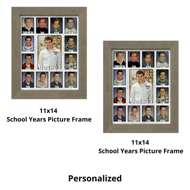 School Years Bundle Pack - (2) Personalized School Years Picture Frame - Holds 12 Standard Wallet Size Photos and 1 5x7 Photo