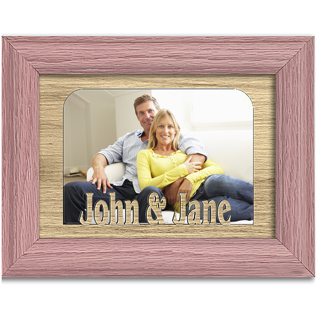Personalize Couple Names Tabletop Picture Frame - Holds 4x6 Photo - Multiple Color Options