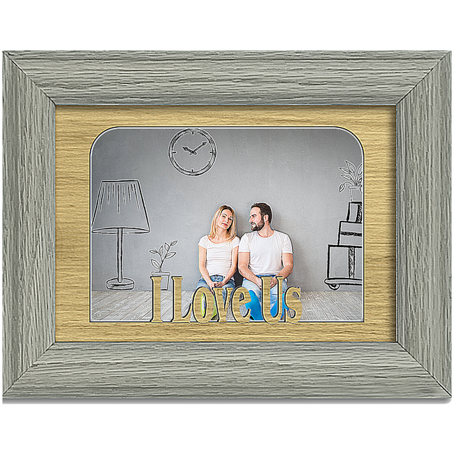I Love Us Tabletop Picture Frame - Holds 4x6 Photo - Multiple Color Options