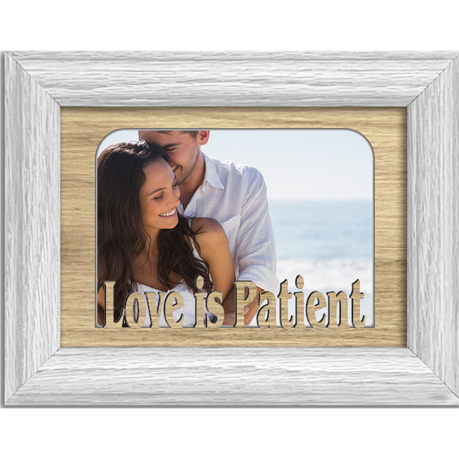 Love is Patient Tabletop Picture Frame - Holds 4x6 Photo - Multiple Color Options