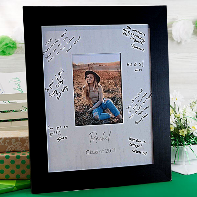 Graduation Party Guest Signature Book Alternative - Signature Picture Frame - Personalized with any Name and Grad Year - Holds 5x7 Photo - 11x14 Frame