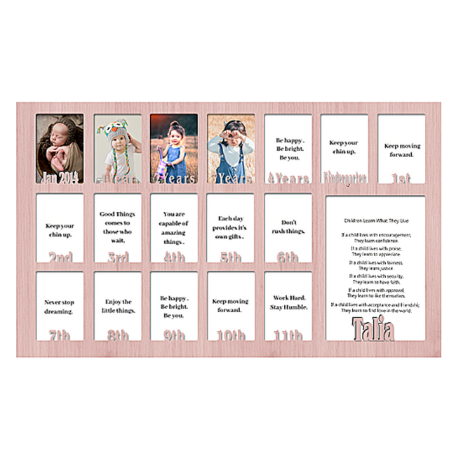 School Years Picture INSERT (No Frame) Collage - Personalized  Name and Date Full - 12x20