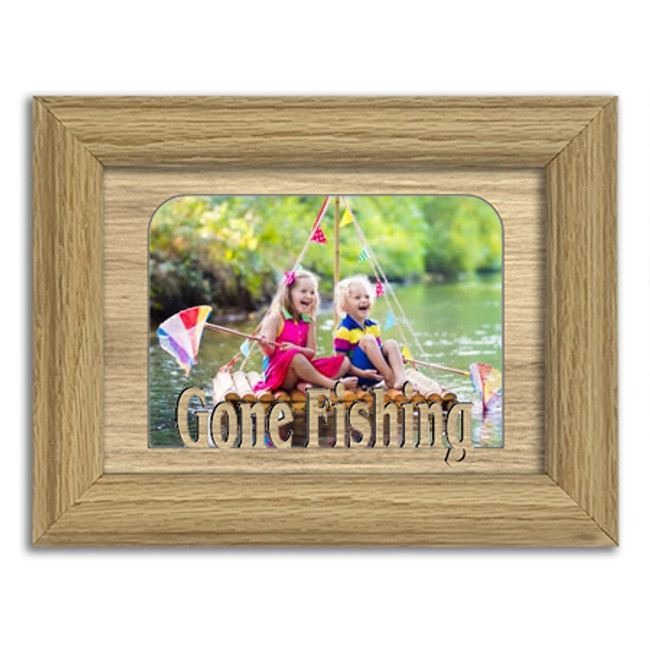 Gone Fishing Tabletop Picture Frame - Holds 4x6 Photo - Multiple Color Options