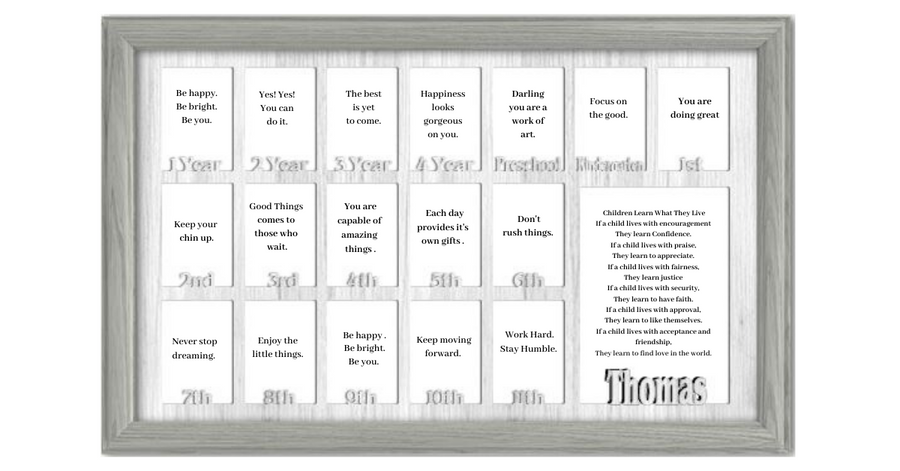 School Years Picture Frame Collage - Personalized - Full 18 Years - 12x20