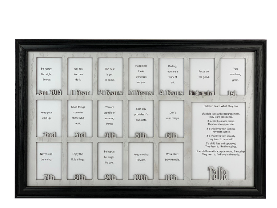 School Years Picture Frame Collage - Personalized Name and Date - Full 18 Years - 12x20