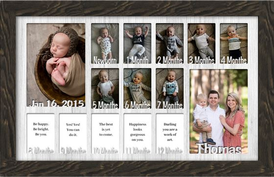 Baby First Year Picture Frame Collage - Personalized - 12x20