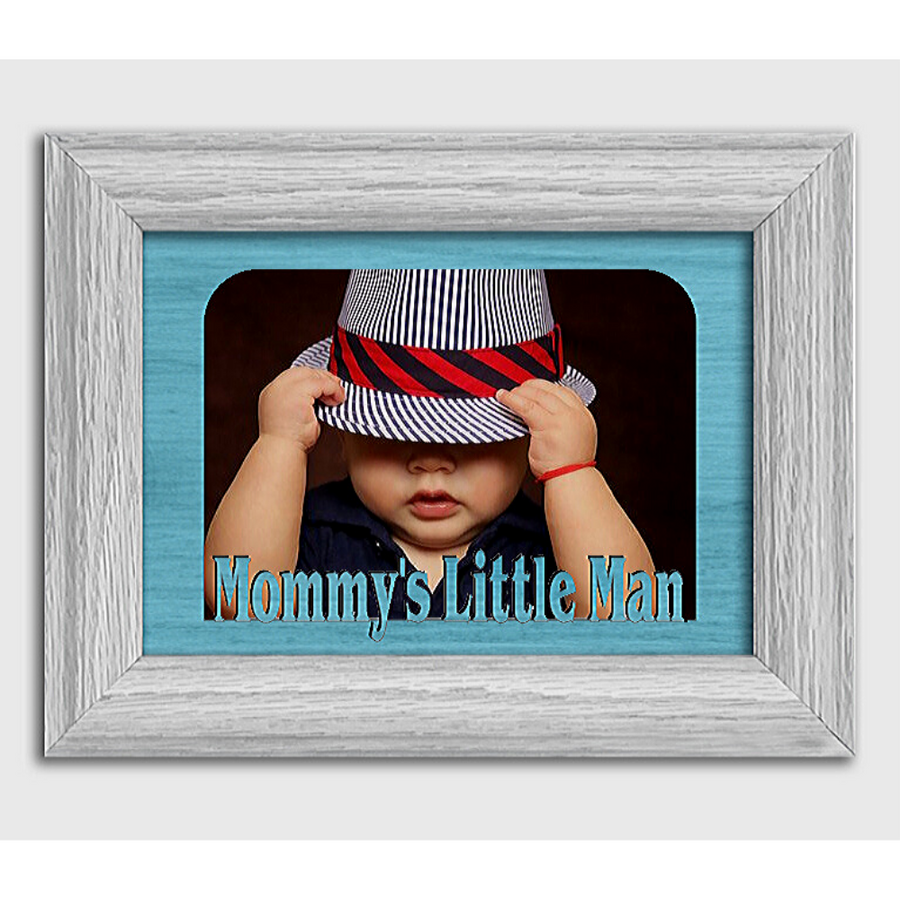 Mommy's Little Man Tabletop Picture Frame - Holds 4x6 Photo - Multiple Color Options
