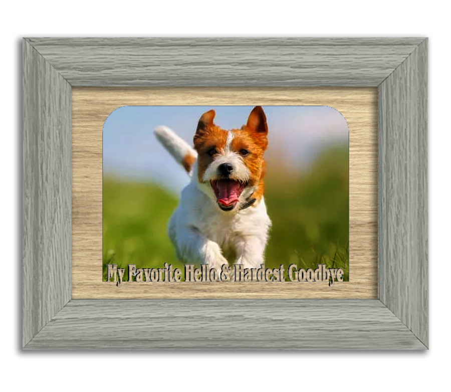 My Favorite Hello & Hardest Goodbye Tabletop Picture Frame - Holds 4x6 Photo - Multiple Color Options