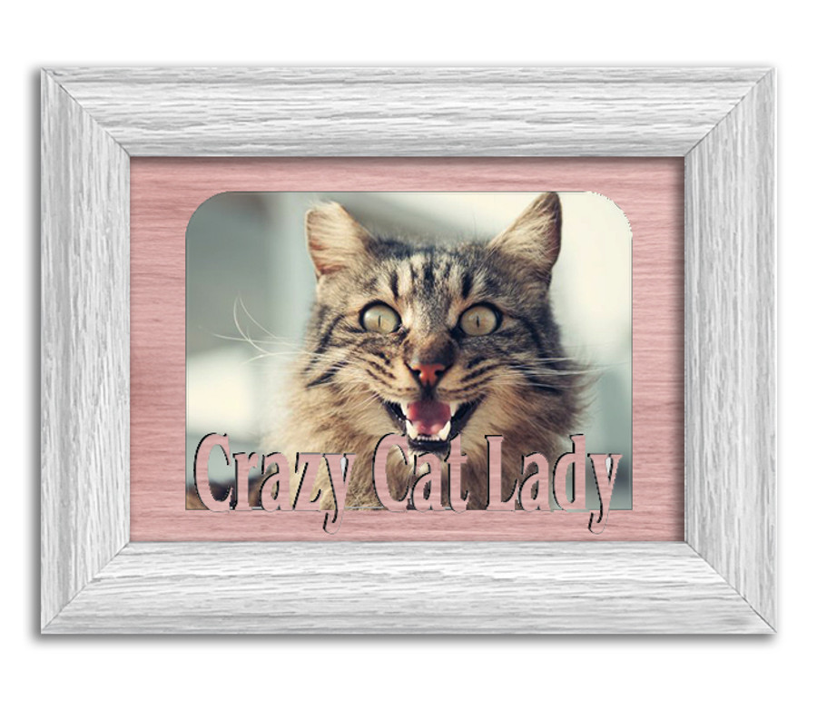 Crazy Cat Lady Tabletop Picture Frame - Holds 4x6 Photo - Multiple Color Options